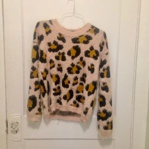 Fuzzy Pink Animal Print Sweater